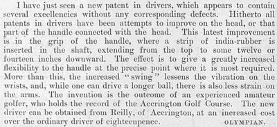 Accrington & District Golf Club. Discovery of the India-Rubber Grip reported in July 1896.