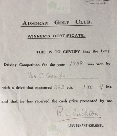 Adsdean Golf Club, Chichester. C Coombe long driving winner 1938.