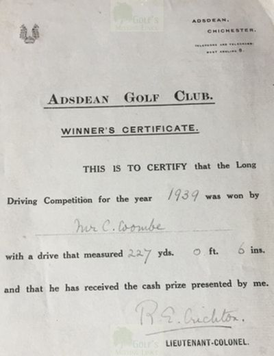 Adsdean Golf Club, Chichester. C Coombe long driving winner 1939.