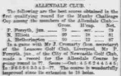 Allendale Golf Club, Thornley Gate. Results and scores from August 1910.