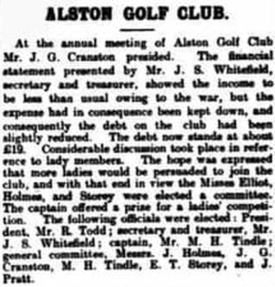 Alston Golf Club, Cumbria. Report on the annual meeting held in March 1916.