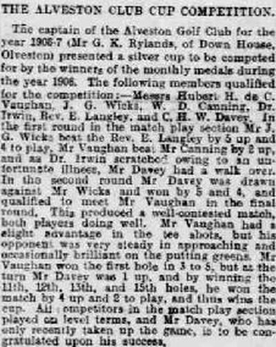 Alveston Golf Club, Gloucestershire. Competition result from December 1906.