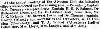 Alveston Golf Club. Report on the annual meeting in November 1909.