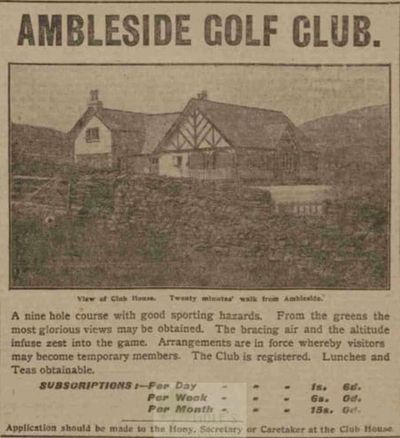 Ambleside & District Golf Club, Cumbria. Newspaper advert from April 1909.