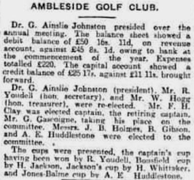 Ambleside & District Golf Club, Cumbria. Report on the annual meeting held in March 1931.
