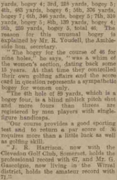 Ambleside & District Golf Club, Cumbria. Report on the course from August 1939.