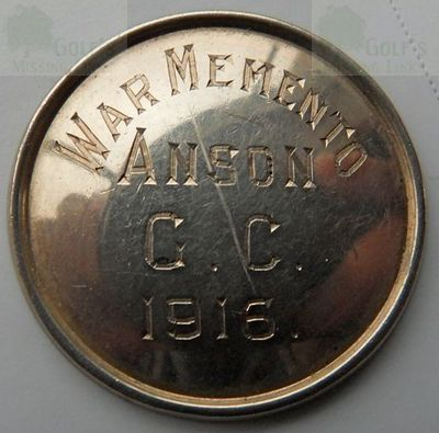 Anson Golf Club, Manchester. World War One memento button 1916.