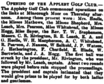 Appleby Golf Club, Cumbria. The opening of the club on Minsceugh Moor in 1894.