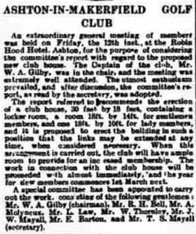 Ashton-in-Makerfield Golf Club. Report on a new clubhouse January 1906.