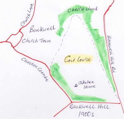 Location of the Backwell Golf Club course.