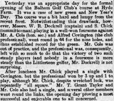 Balham Golf Club, London. The formal opening of the course in January 1895.