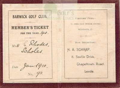 Barwick Golf Club, Leeds. Member's Ticket 1910.