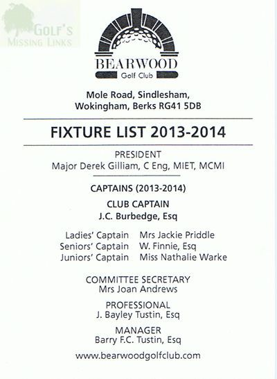 Bearwood Golf Club, Reading. Fixture List 2013-14.