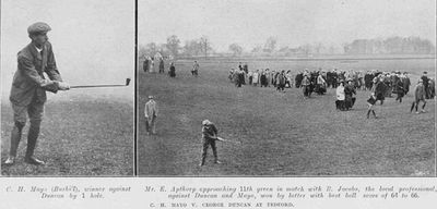 Bedford Golf Club, Biddenham. Exhibition match Mayo against Duncan in April 1910.