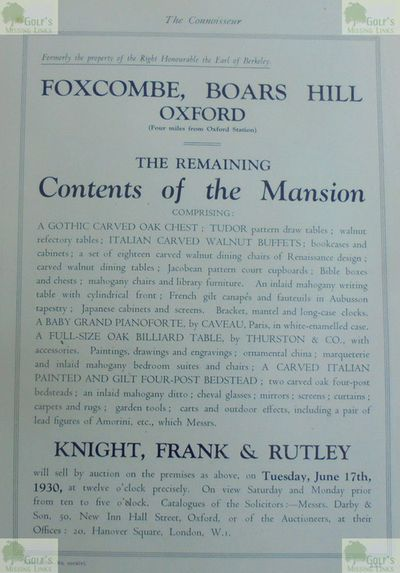 Berkeley Golf Course, Boars Hill, Oxford. Auction notification of the Mansion contents in 1930.