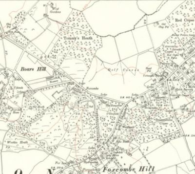 Berkeley Golf Course, Boars Hill, Oxford. Ordnance Map from 1914 showing the Boars Hill golf course.