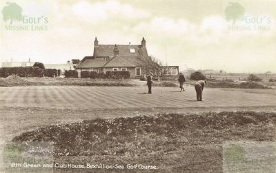 Bexhill-on-Sea Golf Club. The eighteenth green in the 1920s.