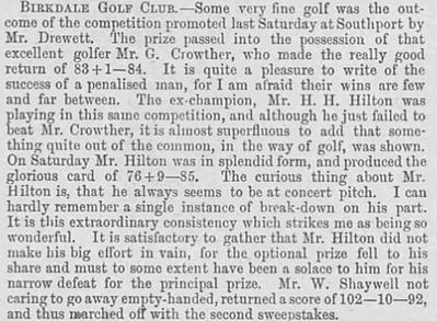 Birkdale Golf Club, Lancashire. Report from January 1894.