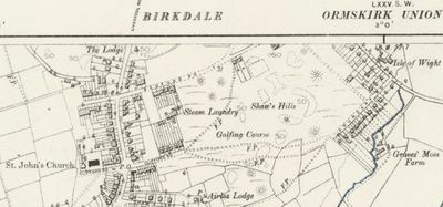 Birkdale Golf Club, Lancashire. Location of the course on the 1894 O.S Map.