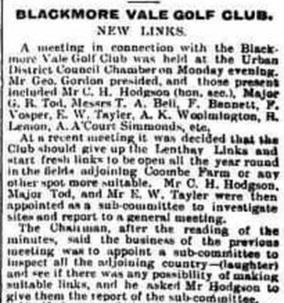 "Blackmore Vale Golf Club, Sherborne. Move to the ""New Links"" in June 1910."