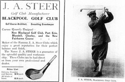 Blackpool Golf Club,South Shore. Golf advert for J A Steer.