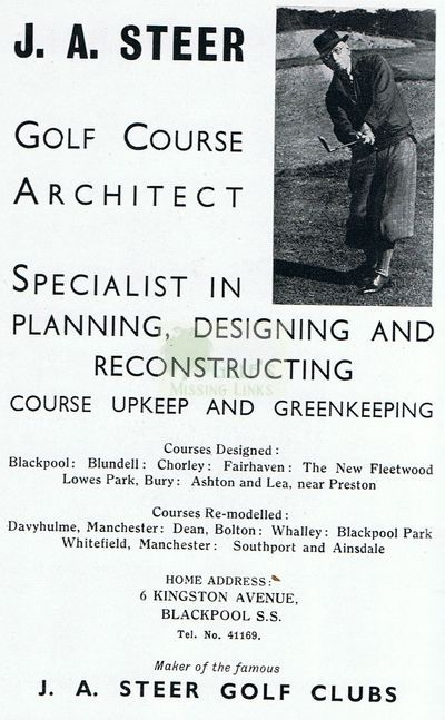 Blackpool Golf Club, South Shore. J A Steer the Blackpool Golf Club professional.