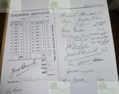 Blackpool Golf Club, Squires Gate, South Shore - James Braid scorecard.
