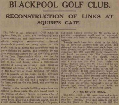 Blackpool Golf Club, Squire's Gate, South Shore. Reconstruction of the course in December 1925.