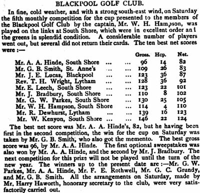 Blackpool Golf Club, Squires Gate, South Shore. Report on a new 18-hole course opened in September 1906.