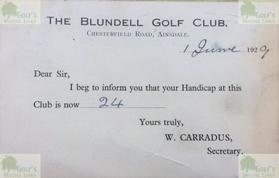 Blundell Golf Club, Woodvale, Ainsdale, Lancs. Handicap certificate from June 1929.