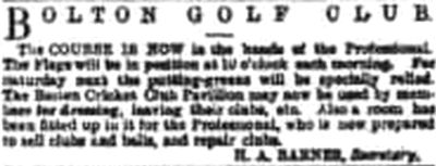 Bolton Golf Club, Smithills Course. Report on the first course in 1891.