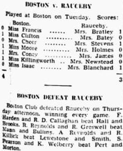 Boston Golf Club, Lincolnshire. Results of matches against Rauceby in June 1939.