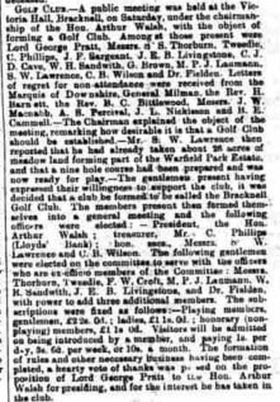 Bracknell Golf Club, Berkshire. Newspaper report from December 1901.