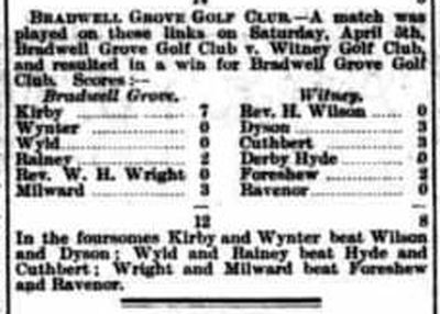 Witney Golf Club, Oxfordshire. Result of a match played in April 1902.
