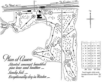 Bramshot Golf Club, Hants. Layout of the later course.