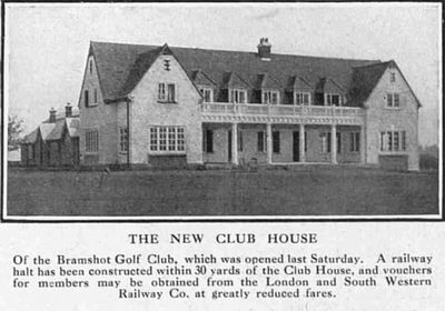 Bramshot Golf Club, Hampshire. Article from Bystander New Clubhouse 1913.