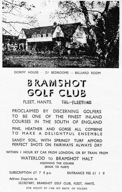 Bramshot Golf Club, Hants. Club and Course advert.