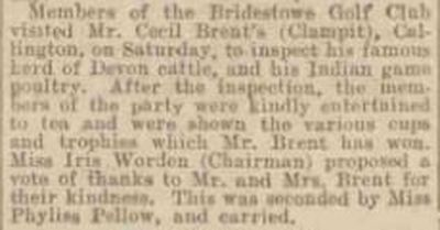 Bridestowe Golf Club, Devon. Newspaper report from June 1935