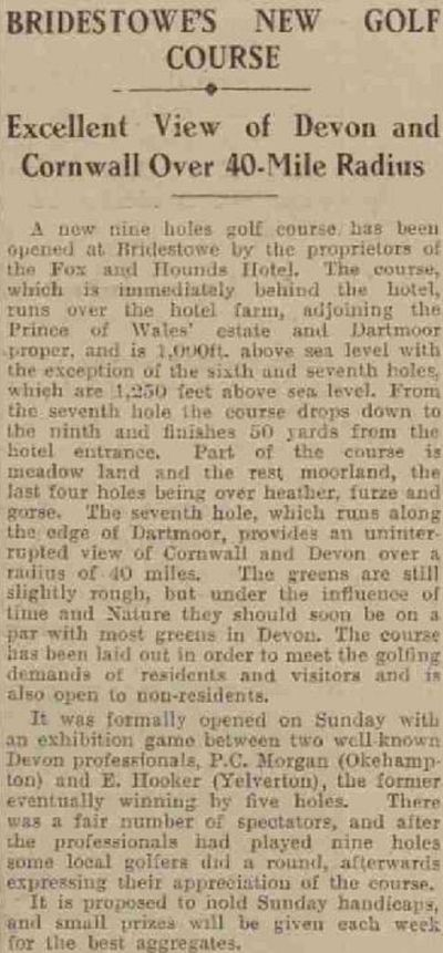 Bridestowe Golf Club, Devon. Report on the new golf course in April 1930.