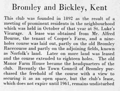 Bromley and Bickley Golf Club, Kent. Article from The Bystander in December 1938.