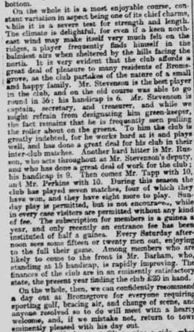 Bromsgrove Golf Club. Newspaper report from March 1900.