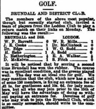 Loddon & Hales Golf Club, Norfolk. Result of a match played against Brundall in April 1904.