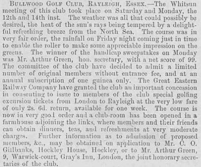 Bullwood Golf Club, Rayleigh, Essex. A report on the Whitsun Meeting in 1894.