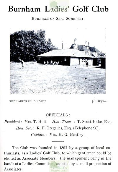 Burnham Ladies' Golf Club, Somerset. From an unknown publication.