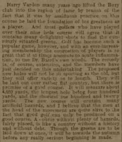 Bury Golf Club, Manchester. Report on course improvements in January 1907.