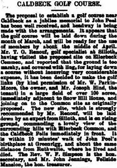 Caldbeck Golf Club, Snow Hill House Course, Wigton. Report on the proposed golf club in February 1905.
