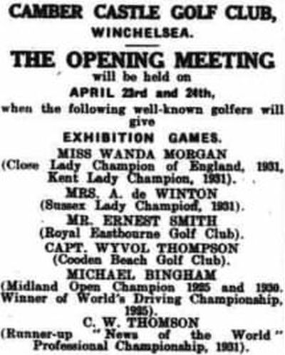 Camber Castle Golf Club, Winchelsea, Sussex. Advert for the Open Meeting April 1932.