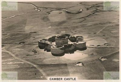 Camber Castle Golf Club, Winchelsea, Sussex. Aerial pictue showing the castle and golf course.