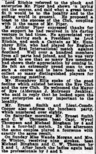 Camber Castle Golf Club, Winchelsea, Sussex. Report on the Opening Meeting April 1932.