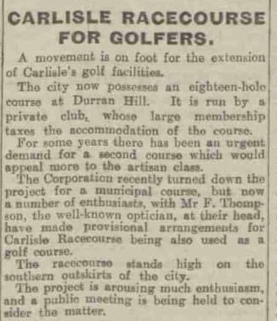 Carlisle (City) Golf Club. A proposed new golf course.